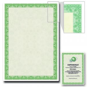 Сертификат-бумага BRAUBERG А4, 25 листов, 115 гр., в суперобложке, зеленый интенсив, 122623