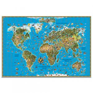 """Карта настенная для детей """"Мир"""", размер 116*79см, ламинир., 450"""