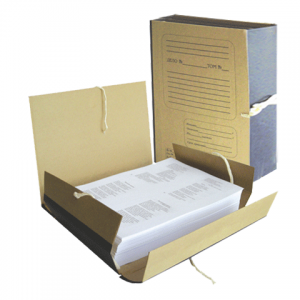 Папка д/бумаг архивная 120 мм, крафт, корешок — бумвинил, 4 х/б завязки, 123204
