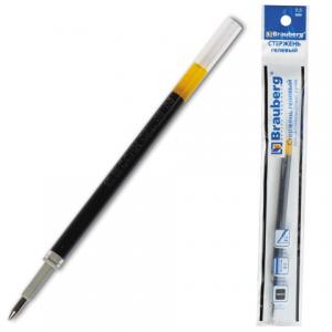 Стержень гелевый BRAUBERG 110мм для автоматических ручек, евронаконечник, 0,5мм, 170173, черный