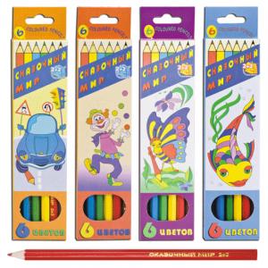 """Карандаши цветные  2+2 """"Сказочный мир"""",  6 цв., заточенные"""