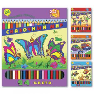 """Карандаши цветные  2+2 """"Сказочный мир"""", 24 цв., заточенные"""