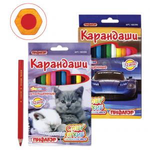 """Карандаши цветные ПИФАГОР """"Котята, Автомобили"""" 12 цв., яркие цвета, утолщен, заточ, упак.европодвес."""