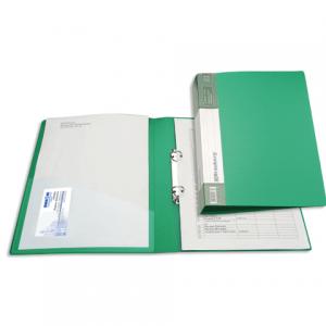 "Папка 2 кольца BRAUBERG ""Contract"", 35мм, зеленая, до 180 листов, 0,9мм"