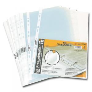 Папка-файл перфорированная, комплект 100 шт., А4 DURABLE (Германия) апельсин. корка, 0,05 мм,2659-19