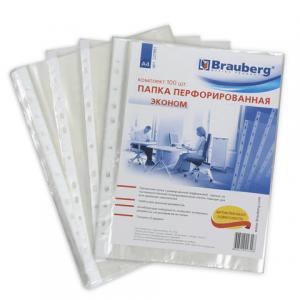 """Папка-файл перфорированная, комплект 100 шт., А4 BRAUBERG """"Эконом"""", апельсин. корка, 221991"""