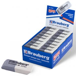 "Резинка стирательная BRAUBERG ""Flagman 80"", 41х14х8мм, цвет сер/бел, в карт. дисплее, 222461"