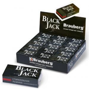 "Резинка стирательная BRAUBERG ""BlackJack"" в карт. держ, 40х20х11мм, трёхслойная, цвет чёрн, 222466"