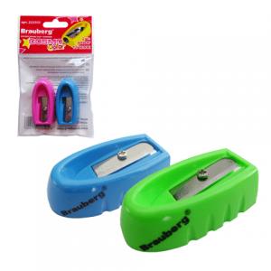 """Набор точилок BRAUBERG """"Cosmo Color"""" 2шт., пластиковая, в упаковке с подвесом, ассорти, 222503"""