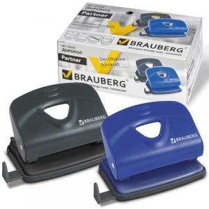 """Дырокол BRAUBERG """"Partner"""" металлический средний, на 20 листов, ассорти (синий /черный), 222525"""