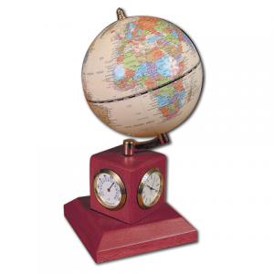 Глобус на подставке с часами, термометром и гигрометром GALANT (цвет- красн дер.) 231180