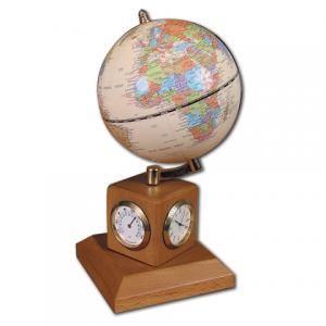 Глобус на подставке с часами, термометром и гигрометром GALANT (цвет- орех) 231181