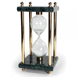 Песочные часы GALANT 15минут, зеленый мрамор с золотистой отделкой 231504
