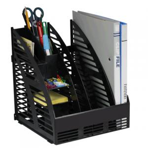 Лоток вертикальный для бумаг  сборный 240мм, 3 отделения, с органайзером, черный, 4С143