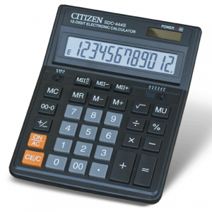 Калькулятор CITIZEN настольный SDC-444, 12 разр., двойное питание, 199x153мм, оригинальный