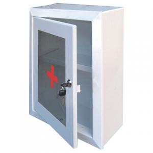 Шкафчик-аптечка металлический, навесной, 1 полка, ключевой замок, стекло, 330x280x140мм