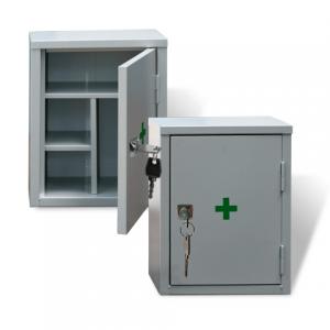 Шкафчик-аптечка металлический, навесной, внутр. перегородки, ключевой замок, 380x300x160мм