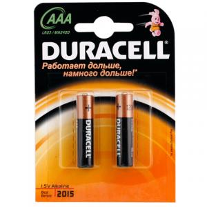 Батарейка DURACELL AAA LR3, комплект 2шт., в блистере, 1.5В, (работает до 10 раз дольше)