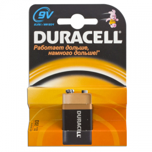 Батарейка DURACELL 9V, в блистере, 9В, 6LR61 (самая мощная щелочная батарейка)