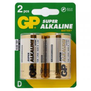 Батарейка GP (Джи-Пи) Alkaline D (LR20, 13А), комплект 2шт., в блистере, 1.5В