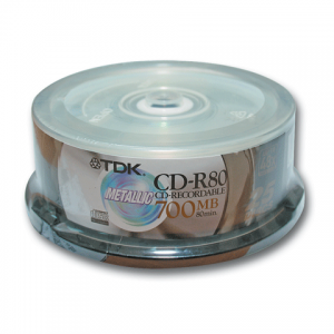 Диск CD-R TDK 700Mb 52х 25шт Cake Box CD-R80CBA25 (ш/к-7675)