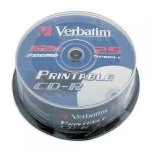 Диск CD-R VERBATIM 700MB 52x Printable 25шт Cake Box 43439 с поверхностью для печати (ш/к-4399)