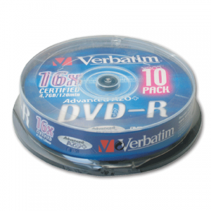 Диск DVD-R(минус) VERBATIM 4,7Gb 16x 10шт Cake Box 43523 (ш/к-5235)