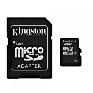 Карта памяти micro SDHC 4Gb KINGSTON скорость передачи данных 4Мб/сек (class 4) с адаптером,SDC4/4GB