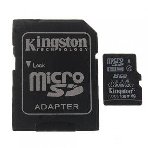 Карта памяти micro SDHC 8Gb KINGSTON скорость передачи данных 4Мб/сек (class 4) с адаптером,SDC4/8GB