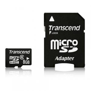 Карта памяти micro SDHC 8Gb TRANSCEND скорость передачи данных 6Мб/сек  (class 6) с адаптером