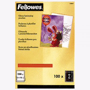 Пленки-заготовки д/ламинир-я FELLOWES набор 100шт, 65*95 мм, 125 мкм, FS-53067