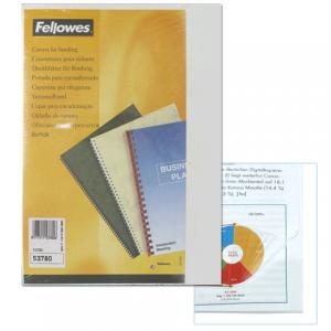 Обложки д/переплета FELLOWES Transparent, набор 100шт, А4, пластик 200мкм, прозрачные, FS-53761