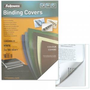 Обложки д/переплета FELLOWES Chromolux, набор 100шт, А4, картон 250г/м, белые, FS-53780