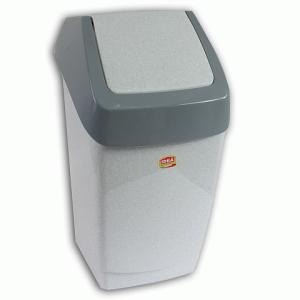 Контейнер для мусора 15л, серый (в 46*ш 26*г 25 см), качающаяся крышка, IDEA, М 2471