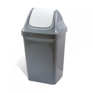 Контейнер для мусора 50л, серый (в 74*ш 40*г 35 см), качающаяся крышка, IDEA M2464